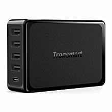 Tronsmart 60W USB-C 5-Port Desktop Charger with Power Delivery for Google Pixel/Pixel XL, MacBook (2016 Model) - UK EBK-K