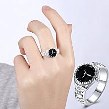 Fashion Women Mens Dial Quartz Analog Watch Ring Size 7-Silver - Silver