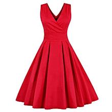 Women Retro Back Bowtietea Length Skater Dress - Red