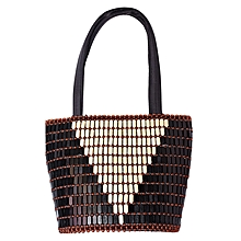Beaded African Handmade Handbag with Inner Lining - Black & Cream