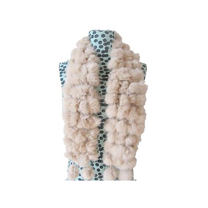 6158f14086a Hiaojbk Store Women Winter Rabbit Fur Scarf Lady Casual Fur Scarves Fur  Ball Velvet Scarf- Beige