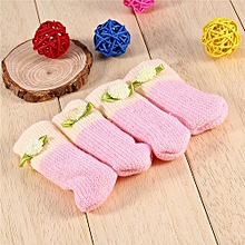 Knit Wool Chair Table Leg Foot Sock Sleeve Cover Floor Protector(Pink)