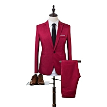 Sanwood Men Slim Fit Business Leisure One Button Formal Two-Piece Suit For Groom Wedding -Red