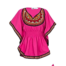 Pink Short Sleeved Women's African Top