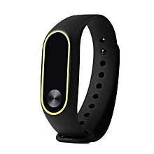 CO Replacement Wrist Strap With Two Color TPU Wristband for XIAOMI MI Band 2-black & yellow