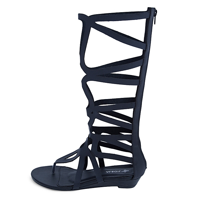 Gladiator Sexy Ladies Knee High Flip-flop Gladiator Sandals-BLACK ... 163614d511