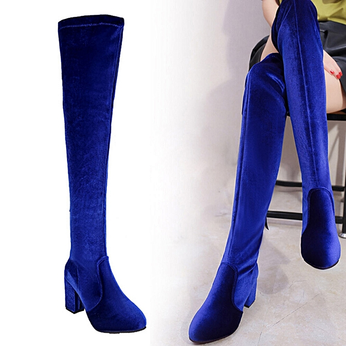 8b4e764f856d ... Winter Women Thigh High Boots Over The Knee Boot Stretch Flock High  Heels Shoes- Blue