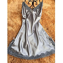 singedanLingerie Silk Lace Robe Dress Babydoll Nightdress Nightgown Sleepwear GY/XXL -Gray