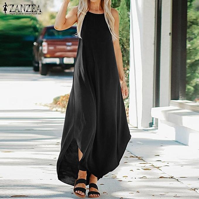 5c39f10f2bdc ZANZEA Women Summer Strappy Sleeveless Kaftan Baggy Oversize Loose Vest  Dress