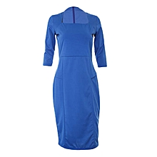 Blue Three-quarter Sleeve Bodycon Dress