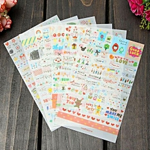 Details About New Lovely 6 Sheet Paper Stickers For Diary Scrapbook Book Wall Phone Decor