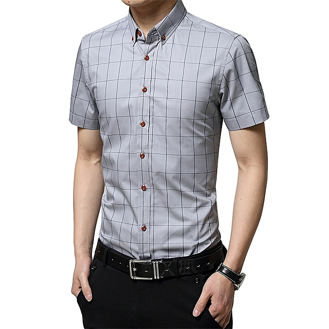 2673566ef842 Longo 2019 Men s Short Sleeve Shirt Summer Business Formal Casual Plaid  Checked Top T Shirt-Grey