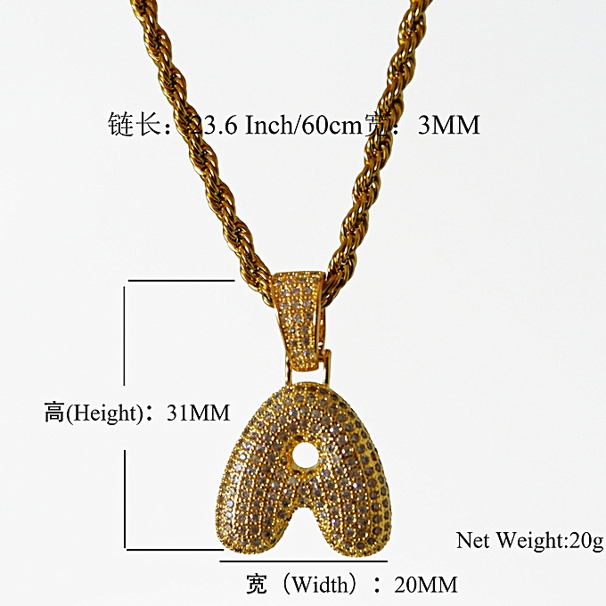 Silver D does not contain chains-Hip-hop Jewelry 26 English Bubble Letter  Pendant f5c4458e9f6e