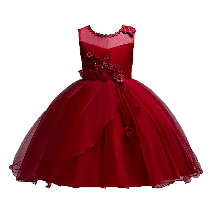 d26c594a8 Girls Flower Dresses Princess Wedding Dress Children Clothing Embroidery  Fluffy Tulle Dresses - Red