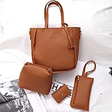 Women Four Set Handbag Shoulder Bags Four Pieces Tote Bag Crossbody Wallet BW