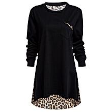 Leopard Spliced Blouse Black - TT