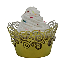 50pc Christmas Lace Laser Cut Cupcake Wrapper Liner Baking Cup Muffin  -Yellow