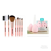 Make Up Brushes 7pcs + Two pcs beauty blender