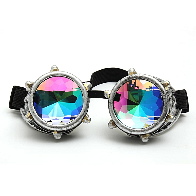 0a471cf5d2 Festivals Kaleidoscope Glasses Vintage Rainbow Crystal Windproof Sunglasses  Gift - Silver