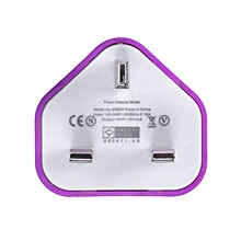 UK Plug Mains Wall 3 Pin USB Power Adaptor Charger For Mobile Cell Phone Tablet(Purple)