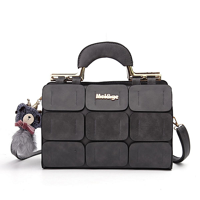 15c66da2f1 Women Leather Fur Ball Handbag Fashion Shoulder Purse Tote Crossbody Bag   black