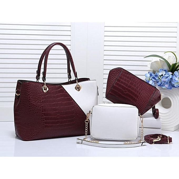 076fe4c46ac4 Generic 3 in 1 Classy Maroon and white leather bag   Best Price ...