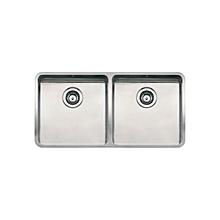 Ohio Dual Bowl Sink - Square - 40cm x 40cm x 18cm (x 2) - Silver