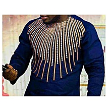 African Print Men's shirt - Navy Blue