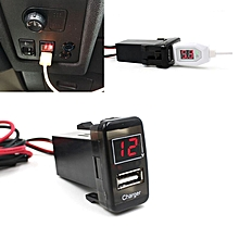 jiuhap store Car 5V 2.1A USB Port Dashboard Voltmeter Phone Charger For TOYOTA VIGO-Black