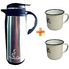 Thermos Flask - 1.6 Litres - Stainless Steel - Coffee Pot - Silver + Free Metallic Cups (2Pcs)