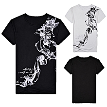 Singedan Shop Men's Summer Casual Slim Fit Printed Short Sleeve T-shirt Pullover Top Blouse