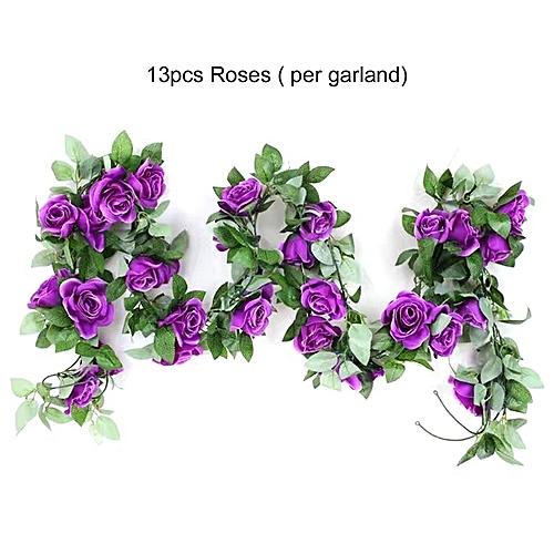 Generic Artificial Rose Flower Vine Green Leaf Hanging Garland For