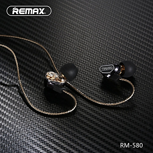 REMAX RM-580 In-ear 3.5mm Plug Wire Control Earphone With Mic [Dual Dynamic Drivers] BDZ
