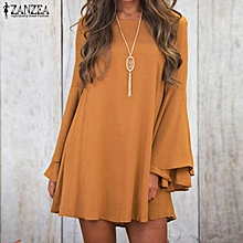 ZANZEA Round Neck Long Flare Sleeve Bandage V Back Mini Dress Women Autumn Party Club Loose Black Yellow Vestido Yellow
