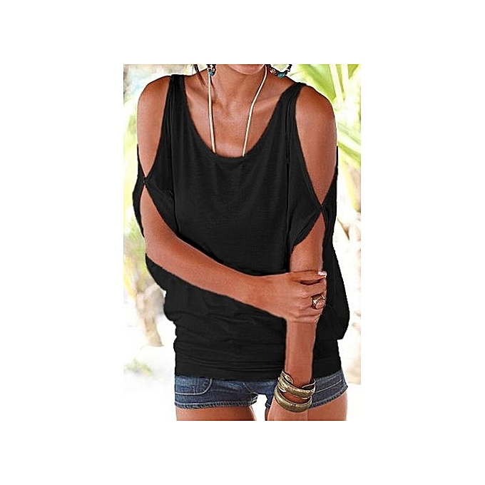 6fd0ccdcd072d YOINS Women New High Fashion Style Clothing Casual Scoop Neck Cold Shoulder  Cut Out Back Black