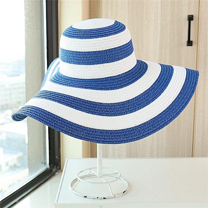 92ac8786 New Summer Female Sun Hats Visor Hat Big Brim Clic Black White Striped  Straw Hat Casual