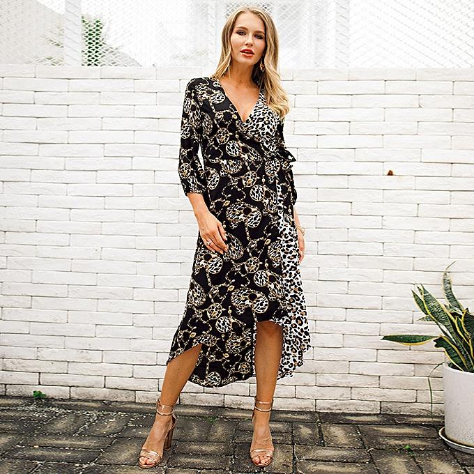 735edf9e39 Sexy Women Long Dress Leopard Chain Print V Neck Bandage High-low Hem  Irregular Maxi