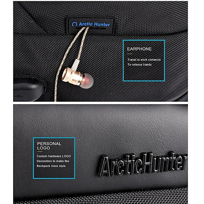 9bfb48fb8f8 ... ARCTIC HUNTER Laptop Backpack,Anti Theft Bag With USB Charging Port For  Men   Women ...