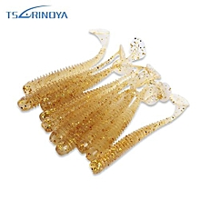 TSURINOYA 10pcs Artificial Soft Luminous Fishing Bait Fish Tackle-TRANSPARENT GOLD
