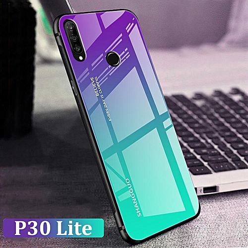 super popolare 93f47 53cbe Gradient Glass Phone Case For HUAWEI P30 Lite Case Shockproof Full Coverage  Casing For HUAWEI P30 Lite COVER (P30 Lite-Red)
