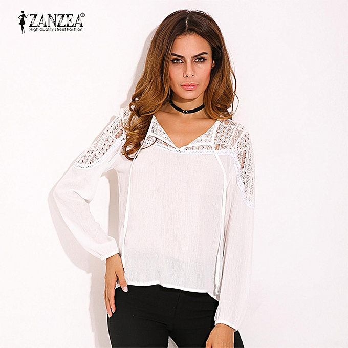 0ab3632bbb9bc3 ... ZANZEA Autumn Shirts Women Casual Loose Patchwork Lace Crochet Blouses  V Neck Long Sleeve Tee Tops ...