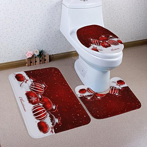 Home Christmas Toilet Foot Pad Seat Cover Radiator Cap Bathroom Sets