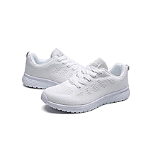 Women Fashion Mesh Round Cross Straps Flat Sneakers Running Shoes Casual Shoes(US Size) - White - 6