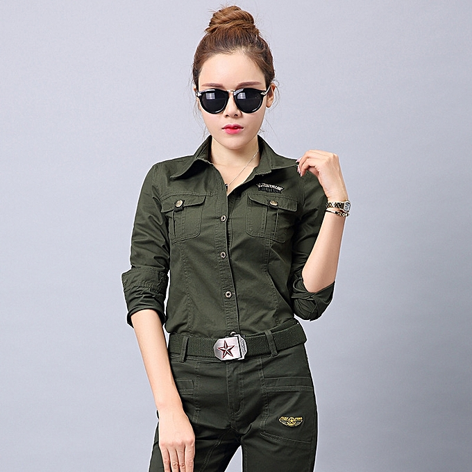 Autumn Winter Military Shirts Women Outdoor Training T Shirts Long Sleeve  Slim Students Camouflage T Shirts ... e09d80423dc