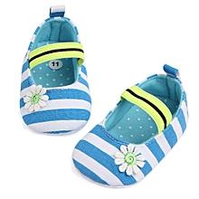 Infant Stripe Flower Shoes Soft Sole Kids Girls Baby Anti-Slip Baby Shoes BU/11-Blue