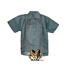 2 Short Sleeved Shirt-Green White Checked Boxes