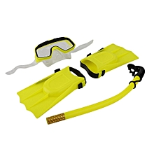 Snorkeling Diving Mask Breathing Tube Long Fins Flippers 3Pcs Snorkels Set
