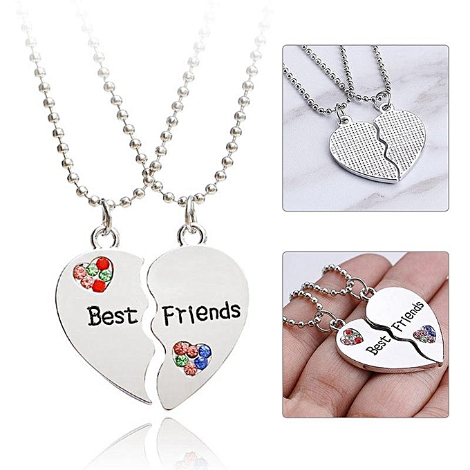 a9d8066eca Creative Two-Pieces Heart Shaped Puzzle Best Friends Stitching Love Necklace  Jewelry Gift
