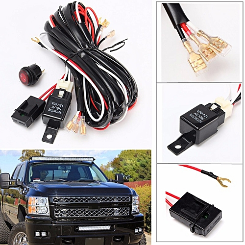 generic 40a 300w relay fuse wiring harness led light bar on/off switch off  road atv/jeep