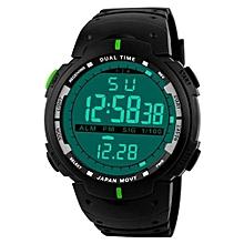 Fashionable Male LED Digital Date Military Sport Rubber Quartz Watch Alarm Waterproof-Green